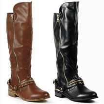 Faux Leather Studded w Buckle Strap Zipper Fashion Knee High Riding Boots - $14.99