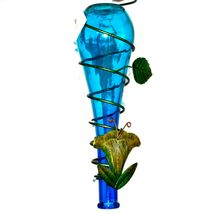 Painted Metal & Glass Blue Dragonfly Garden Hanging Hummingbird Nectar Feeder image 4