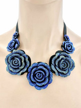Iridescent Blue Rhinestones Flowers Fake Necklace & Earring Casual Chic ... - $18.00