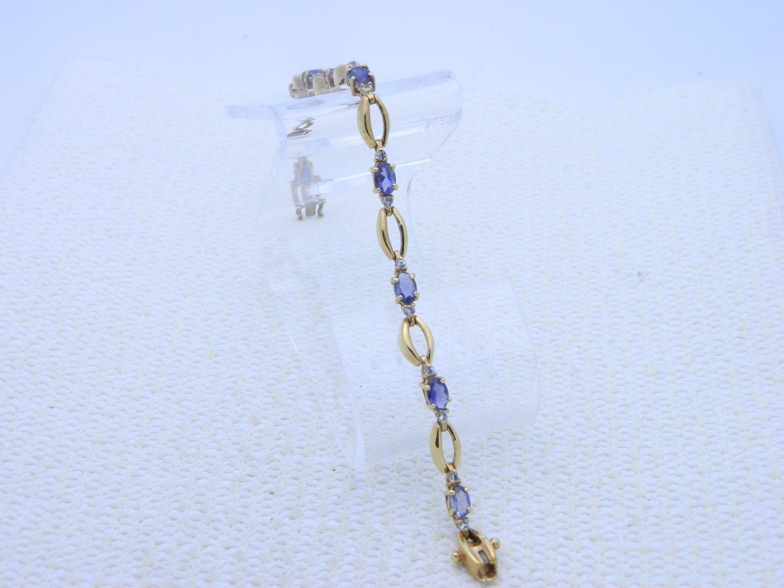 VTG .925 Sterling Silver Gold Vermeil Amethyst Clear Rhinestone Tennis Bracelet