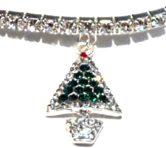 Anklet Christmas Tree Clear Crystal Green Charm Dangle Stretch 9 Inch Silvertone - $21.99