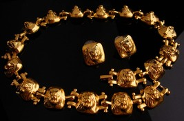 dramatic lion necklace / vintage designer set  / lion head earrings / LEO the li - $145.00