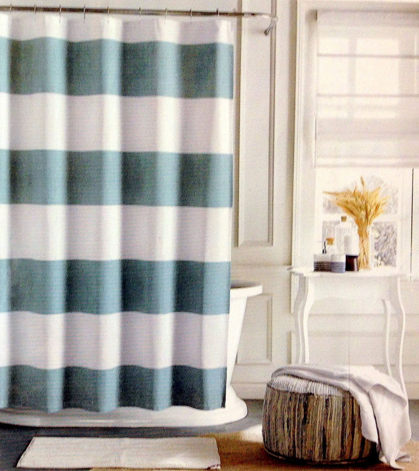 Tommy Hilfiger Cabana Stripe Aqua and White Shower Curtain