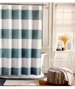 Tommy Hilfiger Cabana Stripe Aqua and White Shower Curtain - $34.00