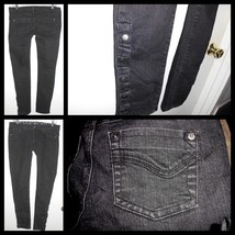 TYTE Low Rise Stretch Black Skinny Denim w/Snap Ankles Jeans 7 Junior Wo... - $15.83