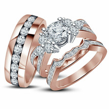 14k Rose Gold Finish 925 Sterling Silver His Her Wedding Diamond Ring Trio Set - £102.63 GBP