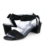 Stuart Weitzman Womens 11M Black Suede Mid Heel Ankle Tie Strappy Slide ... - $34.99