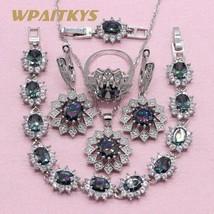 Rainbow Cubic Zirconia 925 Silver Jewelry Sets For Women Wedding Exquisite Flowe - $32.05