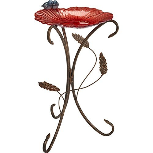 Garden Gifts by Precious Moments Garden Coral Red Flower Petal With Bluebirds Bi