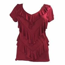 Banana Republic XS Top Maroon Red Blouse Ruffle Stretch V Neck Short Sl ... - $14.50