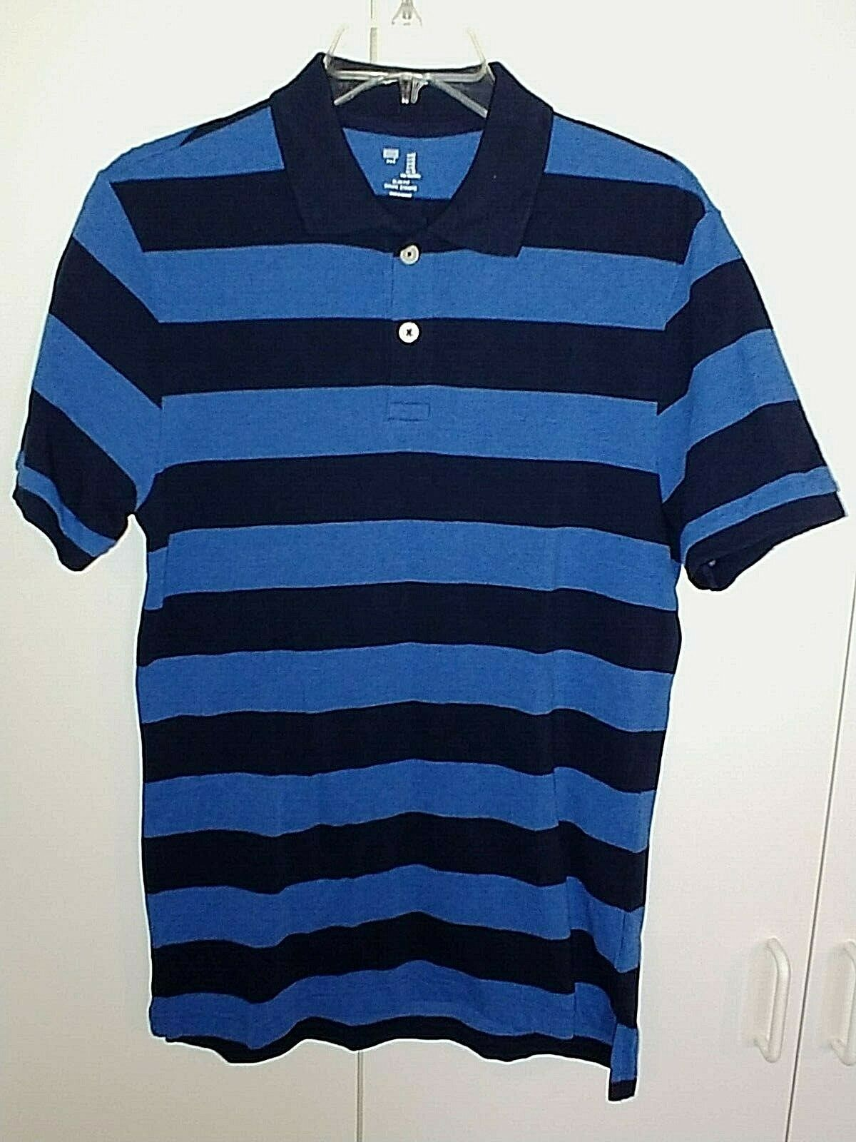 GAP MENS SS BLUE STRIPED 100% COTTON SLIM FIT POLO SHIRT-M-NWD-NECK NAME BLOCKED