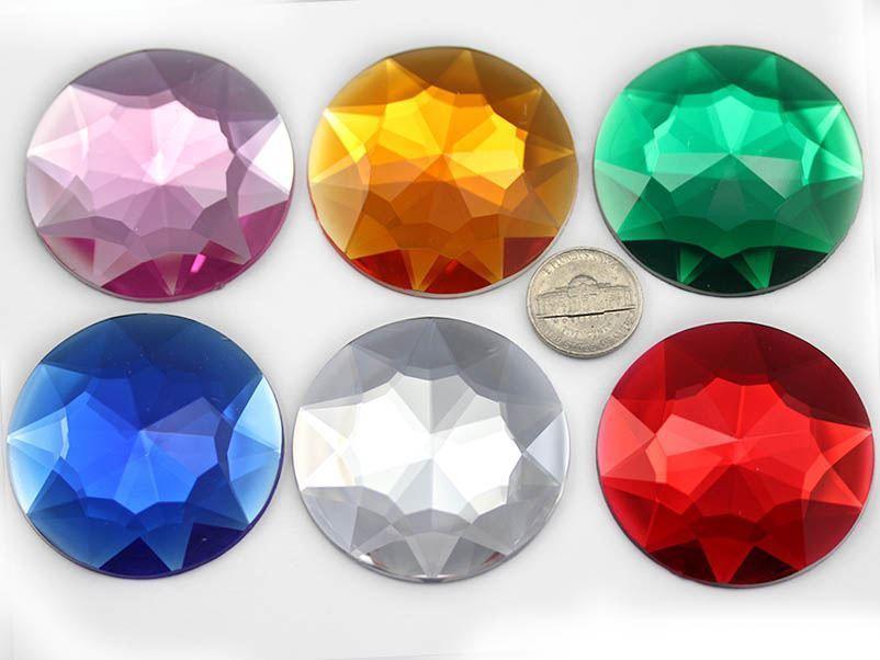 50mm Pink Fuschia H108 Flat Back Round Acrylic Gems High Quality - 4 Pieces