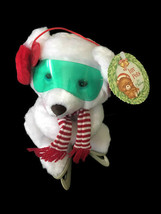 Vintage Russ Brrr Bear Luv Pets for Christmas Ice Skates White Goggles NEW - $24.74