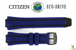 Citizen Eco-Drive BN0097-02H Blue & Black Rubber Watch Band Strap E168-S... - $84.95