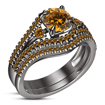 2Ct Round Cut Citrine With 4Kr Black Gold Over Bridal Wedding Ring Set - $85.00