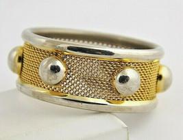 thick wide Vintage bid gold tone metal mesh studded bangle Bracelet stud - $34.64