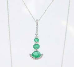 14k Gold Pendant with Genuine Natural .54ct Emeralds and .11ct Diamonds ... - $995.00
