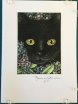 Cat Art Notecard - Black Cat with Forget-Me-Nots - $4.50