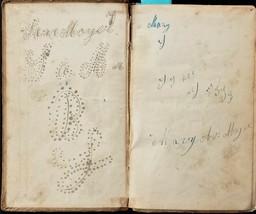 1838 antique SARA MOYER fraktur lancaster pa ALPHABET School Spelling Book - $87.95