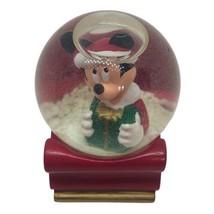 Disney Mickey Mouse In Santa Sleigh Christmas Snow Globe 2003 JCPenny Ex... - $14.82