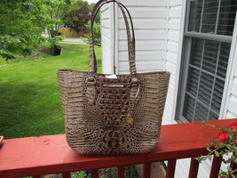 Authentic Brahmin Medium Lena Embossed Leather Shoulder Bag Bark Melbour... - $199.99
