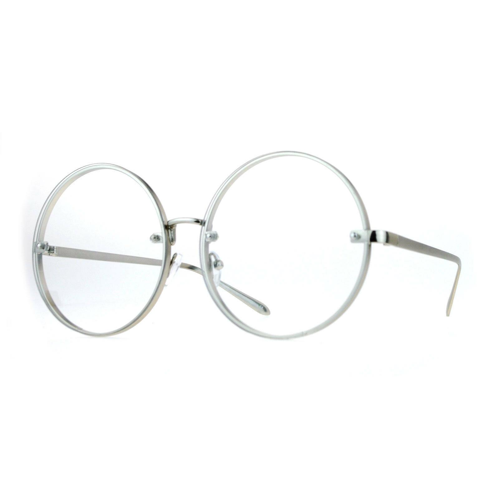 Super Oversized Round Circle Clear Lens Glasses Unique Rims Behind Lens