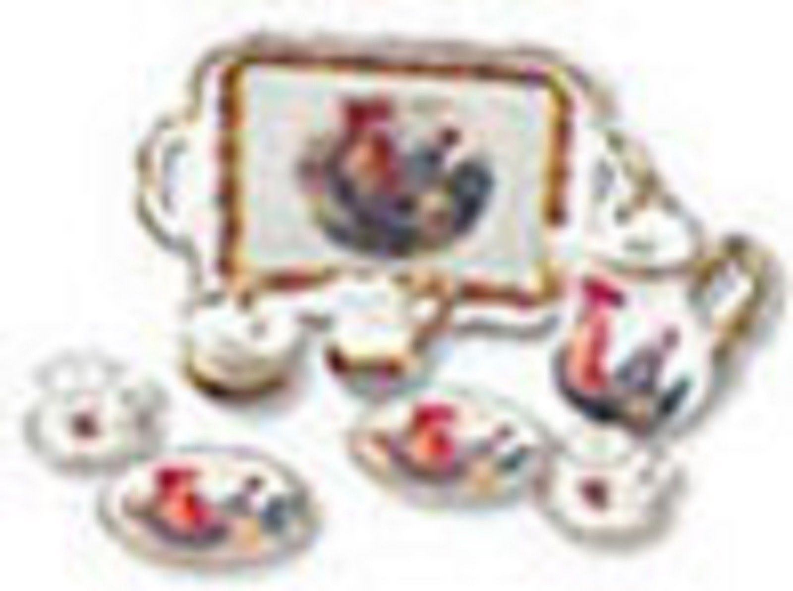 REUTTER PORZELLAN MINIATURES ROOSTER COFFEE SET #MC13568