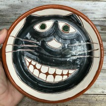 Hand Painted Grinning Toothy Cat Face Terracotta Planter Dish Germany Sp... - $27.99