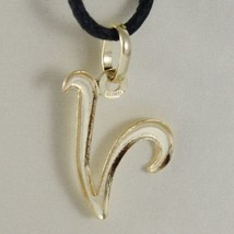 18K YELLOW GOLD PENDANT CHARM INITIAL LETTER V, MADE IN ITALY 0.7 INCHES, 18 MM image 2