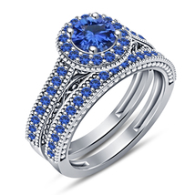 Women's Engagement & Wedding RD Blue Sapphire 925 Silver White GP Ring Set 5 6 - $115.35