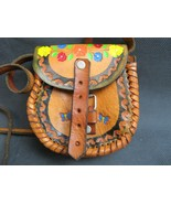 Vintage handmade hand crafted leather decorated purse bag retro 70s deco - $50.00