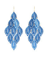 NWT Amrita Singh Lapis Selina Leafy Large Flagree Dangle Earrings ERC 4003 - $19.80