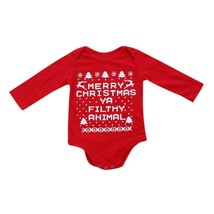 Merry Christmas Letter Printing Romper Newborn Baby Boys Girls Long Slee... - $14.50