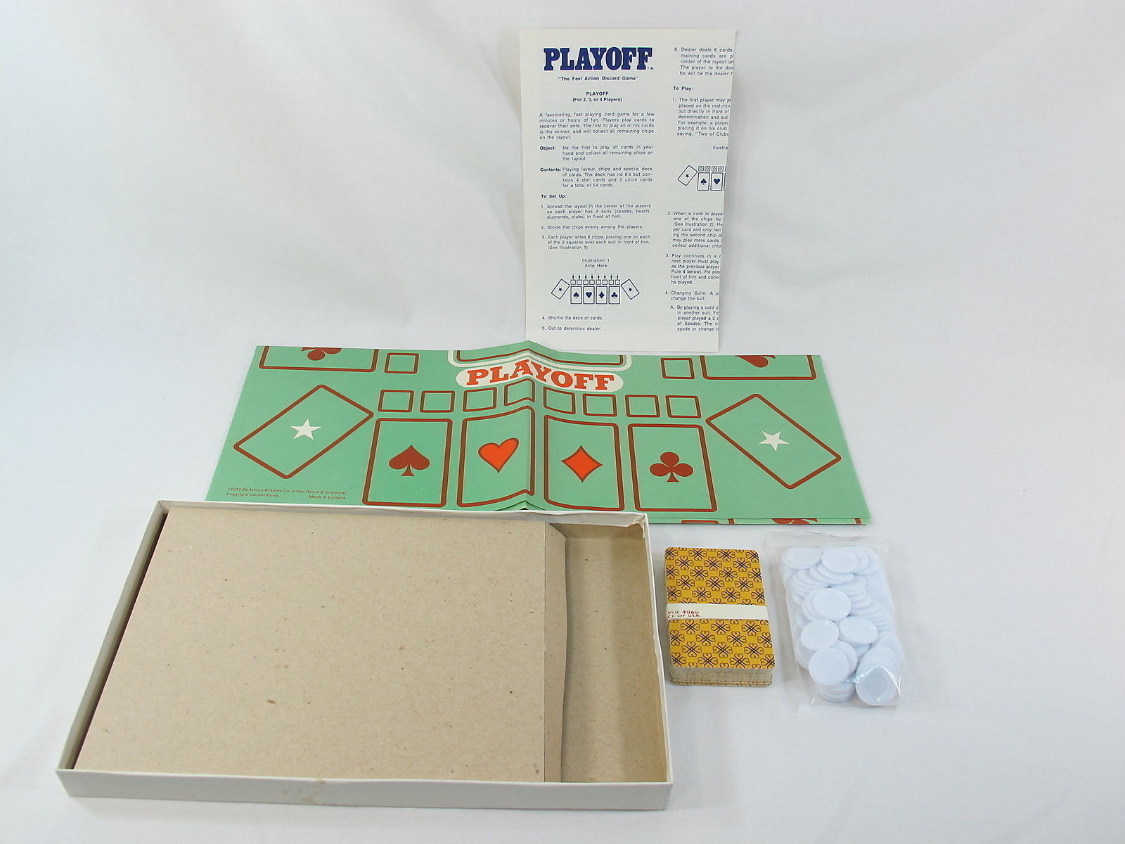 Playoff Discard 1975 Card Game Milton Bradley Complete New Open Box Bilingual @