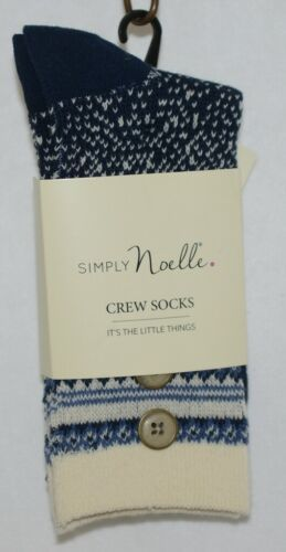 Simply Noelle Cream Navy Blue Crew Sock One Size Fits Most