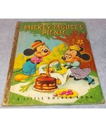 Walt Disney Little Golden Book Mickey Mouse's Picnic 1950 A Printing - $9.95