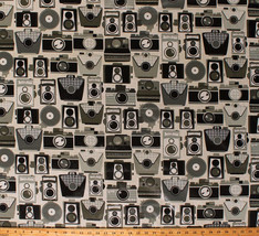 """55"""" Laminated Vintage Cameras Water Repellent Coated Cotton Fabric BTY A... - $9.97"""