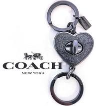 COACH Heart Valet Turnlock Keychain Black Sparkle Purse FOB Bag Charm NW... - $34.99