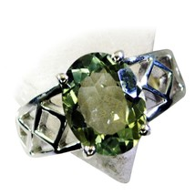 Real Green Amethyst Silver Mother's Ring Oval Shape Statement Style Size... - $29.01