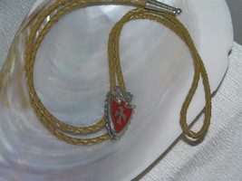 Vintage Faux Goldish Brown Leather Braided Cord w Carved SIlvertone Arro... - $10.39