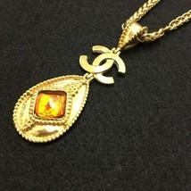Auth Chanel Halskette Gelbgold Vergoldete Charm Vintage Farbe Stein Cc - $746.84