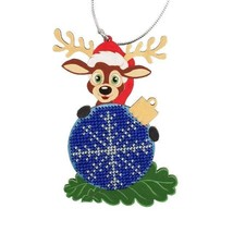 Bead Embroidery Craft Kit Reindeern Christmas Tree Decoration for New Ye... - $7.42