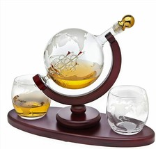 Decanter Globe Set with 2 Etched Globe Whisky Glasses - $75.00