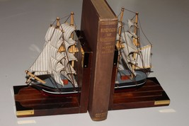 Book Ends Sailing Ship Schooner Boat On Wood Nautical Theme - $19.95