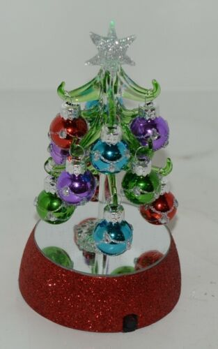 Ganz EX20536 Light Up Christmas Tree 12 Ornaments 6 Inches Glass