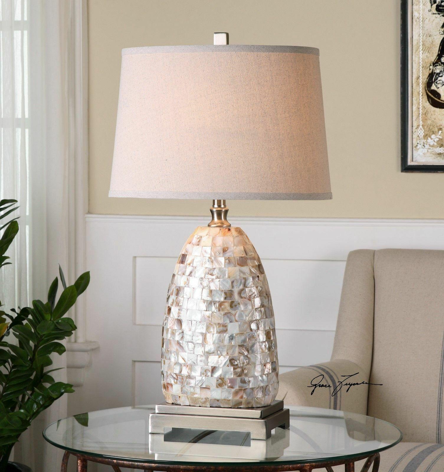 Mosaic Capiz Shell Tiles Table Lamp 30H Linen Shade Desk Light Nickel New