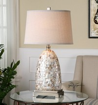 Mosaic Capiz Shell Tiles Table Lamp 30H Linen Shade Desk Light Nickel New - $286.00