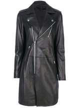Womens Mid Length Slim Fit Lapel Collar Black Leather Trench Coat image 2