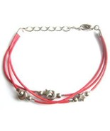 """ANKLET MOON STARS RED CHARMS FRIENDSHIP STRAP ACRYLIC ADJUSTABLE TO 9"""" - $9.45"""