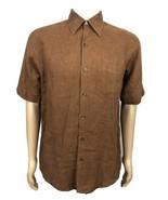 Tasso Elba Size S Brown Linen Short Sleeve Button Down Shirt - $18.80